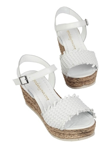 Modabuymus Modabuymus Hakiki Deri Dolgu Topuklu   Sandalet - Didry Beyaz